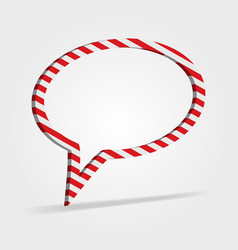 Red and white striped speech bubble vector