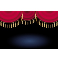 red satin or velvet curtain with lace or thread on vector image