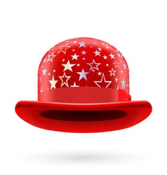 Red starred bowler hat vector image