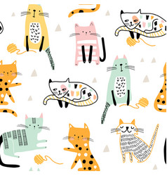 seamless childish pattern with hand drawn cats vector image