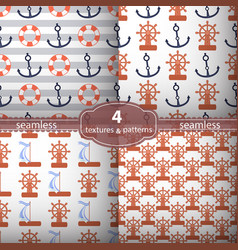 Seamless pattern four pieces anchors and wheel vector