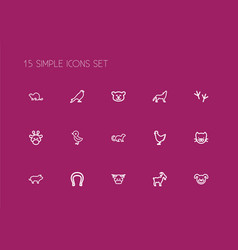 Set of 15 editable zoology icons line style vector