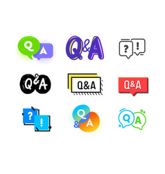 set q and a icons question and answer concept vector image