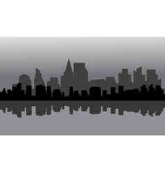Silhouette of city full building vector