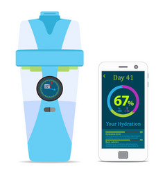 Smart hydrate bottle with filter smartphone vector