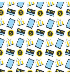 smartphone bank card chart bitcoins fintech vector image