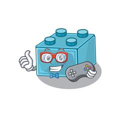 Smiley gamer lego brick toys cartoon mascot style vector