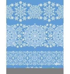 Snowflakes seamless border laceWinter pattern vector image