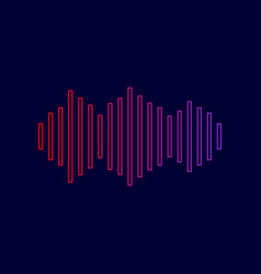 Sound waves icon line icon with gradient vector