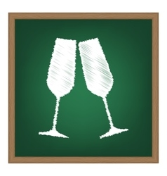 Sparkling champagne glasses White chalk effect on vector