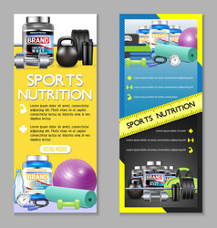 Sports nutrition vertical banner set vector