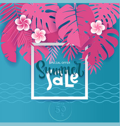 square summer tropical palm monstera leaves in vector image