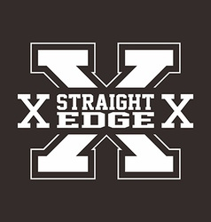 straight edge hardcore sign vector image