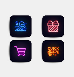 Surprise check investment and market sale icons vector