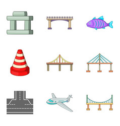 Suspended bridge icons set cartoon style vector