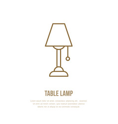 Table lamp flat line icon home lighting light vector