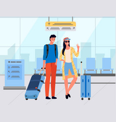 Tourists with luggage standing in airport vector