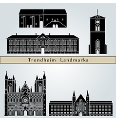 Trondheim landmarks and monuments vector