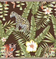 tropical leaves pattern tiger panther brown vector image