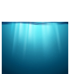 Underwater ocean surface blue water background vector