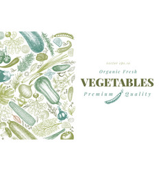 vegetables hand drawn retro vector image