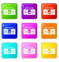 Vintage tape recorder icons 9 set vector
