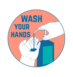 wash your hands with human hands and bottle vector image