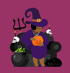 Witch african american with black cat halloween vector