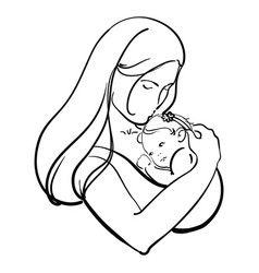 woman with a child logo a young mother with a vector image