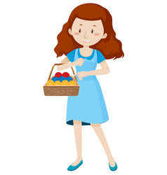 woman with basket full of yarns vector image