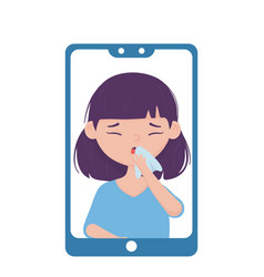 Woman with dry cough inside smartphone vector