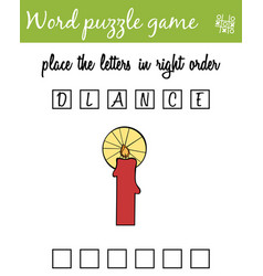 words puzzle game with candle place the letters vector image