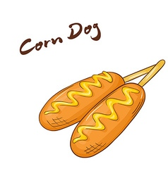 an isolated cartoon hand drawn fast food Corn dog vector image vector image
