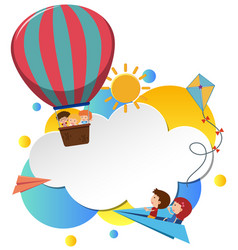 border template with kids in balloon vector image