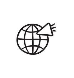 Globe with loudspeaker sketch icon vector