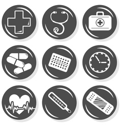 Medical pills icon set vector image vector image