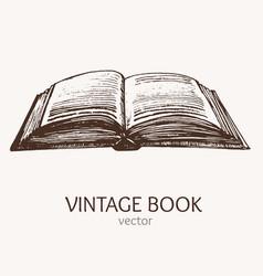 open vintage book hand draw sketch card vector image