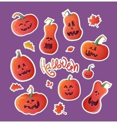 Set of stickers for Halloween vector image