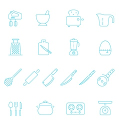 Thin lines icon set - kitchenware vector image vector image