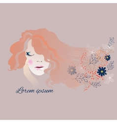 Woman with long flowing hair and flowers vector image vector image