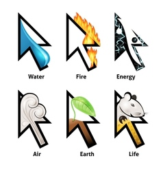 Awesome cursor set with elements of life vector image vector image