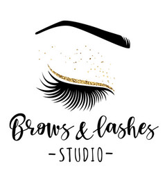 Brows and lashes gold logo vector