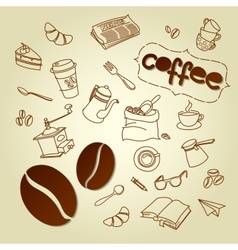 Coffee break menu doodles background vector image