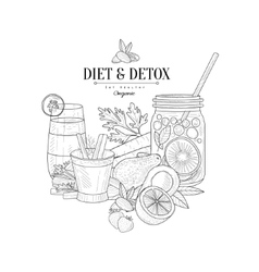 Detox And Diet Fresh Food Drink Hand Drawn vector image vector image
