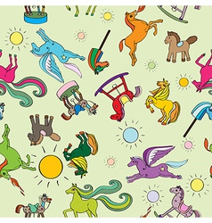 toy horses pattern vector image vector image