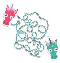 Unicorn labyrinth game for Preschool Children vector image vector image