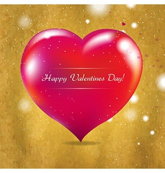 Vintage Valentines Day Card With Red Heart vector image vector image