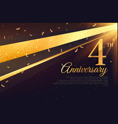 4th anniversary celebration card template vector image vector image