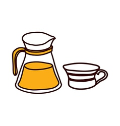 A kettle with cup vector image vector image