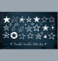 collection of doodle stars on dark blue background vector image